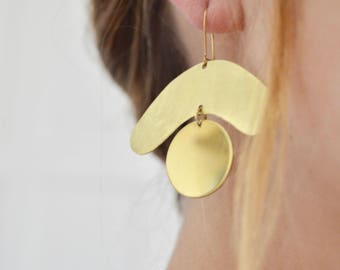 Ojos Earrings - Large, Brass, Matisse, Cut Out, Statement Earrings