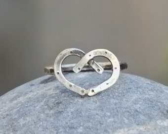 Double Horseshoe Heart Sterling Silver Ring