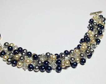 Navy Blue Gray Cream Pearl and Crystal Cluster Bracelet, Christmas Mother's Day Bridesmaid Wedding Girlfriend Birthday Mom Sister Aunt Gift