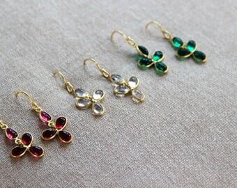 Darling Bezel Gold Chandelier Earrings - Available in Clear, Ruby or Emerald