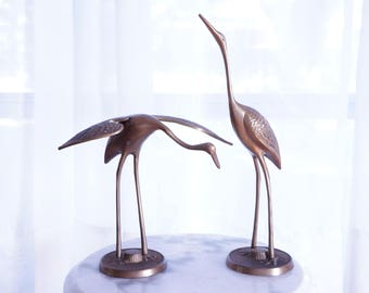 Dynamite Pair of Cranes by Leonard Silver Manufacturing Company -- Lovely Brass Bird Sculptures -- Fab Bird Figurines Made in Korea