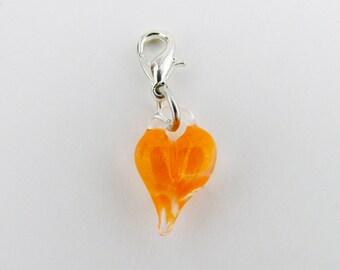 Orange Glass Love Charm Pendant, Hand Blown Glass , Glass Heart Clip, Boro dangle, Lampwork jewelry, Boro, Heart Charm Clasp