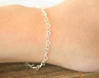 Mini Sterling Silver Heart Bracelet