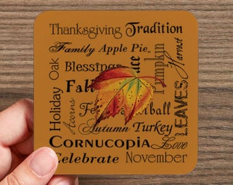 Thanksgiving Drink Coaster (4 coasters in a set)
