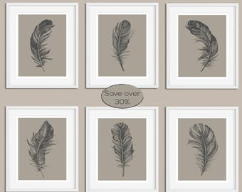 Feather Print Set, Grey Print Set, Set of Prints, Wall Art Set, Feather Prints, Wall Art Prints, Neutral Print, Grey Print, Prints, Wall Art