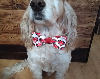 British flag heart print dog bow tie, dog bow tie, dog collar, dog neckwear, pet accessories, pet bow tie, heart print bow tie, red dog bow