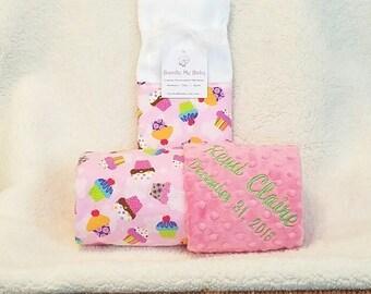 Baby Girl Cupcake Blanket Name Embroidery - Pink Minky Gift Set Burp Cloths Newborn Pink Sweet Rainbow Cakes 1st Crib Bedding