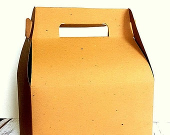 "25 Large Kraft Brown Gable Gift Boxes, Wedding Guest Welcome Box, Party Favor Box, 9"" x 5"" x 5"""
