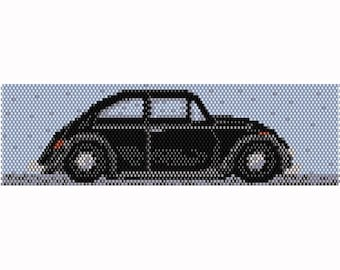 Peyote Black VW Bug Vintage Car Bead Pattern, Bracelet Cuff, Bookmark, Seed Beading Pattern, Delica Size 11 Beads - PDF Instant Download