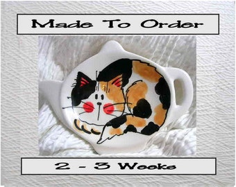 Calico Laying Cat Ceramic Tea Bag Holder Handmade To Order by Gracie