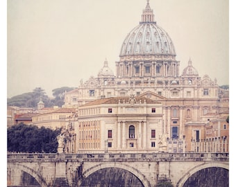 Vatican St Peter's Basilica, Rome photography, Rome Italy, Tiber River, muted tones, the eternal city, fine art photography, travel photo