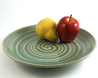 Serving Plate- Pottery Plate - Large Dinner Plate - Ceramic Cheese Plate - Handmade Plate - Pottery Dish - Green Pottery Plate - P116