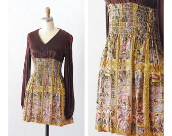 vintage 1970s Young Edwardian mini dress / size small