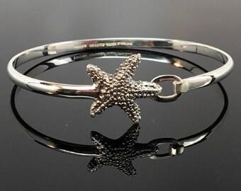 STARFISH BANGLE, Bangle Bracelet, Beach Jewelry, Beach Wedding, Sterling Silver, Summer Jewelry, Lakehouse, Boho jewelry, Bohemian Jewelry