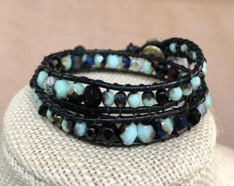 Hannah Blue Beaded Double Leather Wrap Bracelet