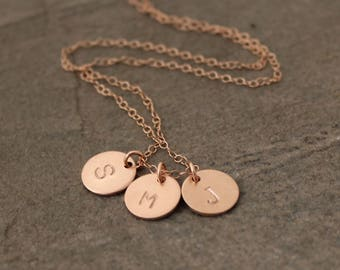 Sterling Silver Disc Initial Necklace - Gold Disc Initial Necklace - Childrens Initials Necklace - Rose Gold Initial Necklace - Tiny Disc