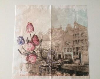 Two pretty collage paper napkins