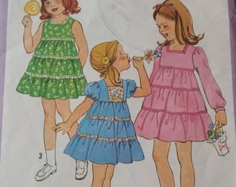 Three layered ruffle skirt for girls in size 6 by Simplicity 8429