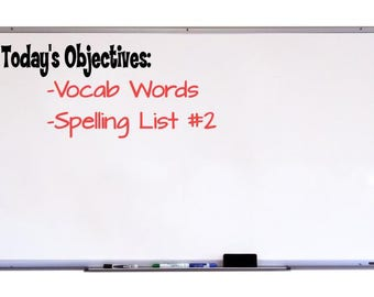 Today's Objectives Chalkboard Decal, Classroom Wall Decal, Whiteboard Decal, Classroom Organization