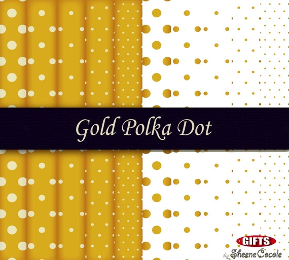 Classic Gold Polka Dot Digital Paper Gold Print Scrapbook background dear golden polkadot craft printable art birthday invitation Gold paper