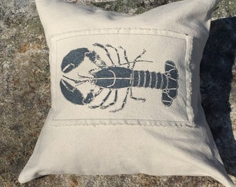 """Natural Canvas Lobster Pillow Cover in Black Pearl, 18"""" x 18"""" or 20"""" x 20"""""""