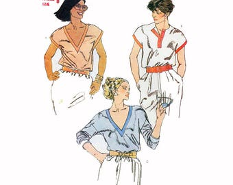 """Vogue Sewing Pattern for Women's Blouse - Low Cut 80s Shirt with Contrast Bands Size 8 Bust 31.5""""  Vogue 7953 S"""