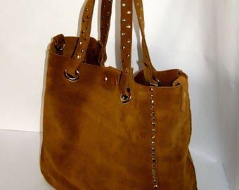 Women Genuine Leather Shopper Handbag -mod.2 light brown-ginger