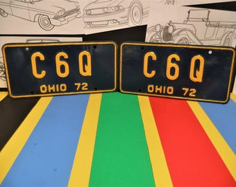 "1972 OHIO LICENSE PLATES...""C 6 Q""...Collector...Anniversary?...Birthday?...Or Just Plain Old Garage Art!"