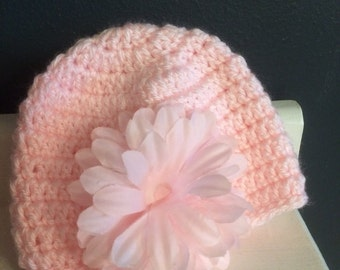 Baby Pink Beanie with Baby Pink Flower