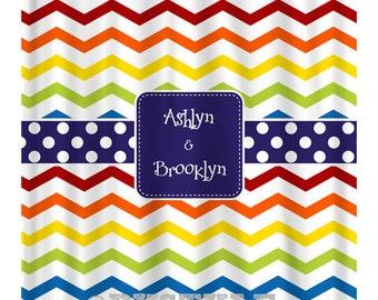 Chevron Shower Curtain - Custom Shower Curtain - Rainbow Shower Curtain - Guest Bathroom - Design your own Curtain - Boys and Girls Bathroom