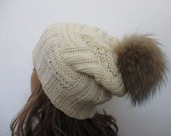A hand knitted women beanie hat, winter, pom pom, fur (raccoon),slouchy #197