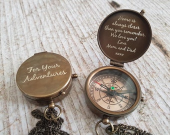 Personalized Engraved Compass, Working Compass, Fathers Day, Mothers Day, Anniversary Gift, Christmas Gift, Groomsmen Gift, Valentines Day