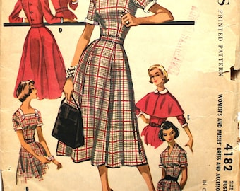 1950's Wedgeneck Dress with Capelet and Collar Variations Bust 34 Size 14 McCalls 4182 Vintage Sewing Pattern