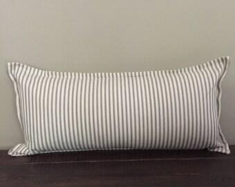 Gray Ticking Stripe Pillow Cover, Long Lumbar Pillow, Throw Pillow Cover, Farmhouse Pillow, Decorative Pillows, Pillow Cover 12x22