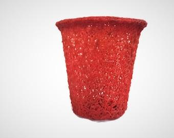 "Mid Century Modern Spun Lucite Spaghetti Storage / Receptacle Waste Basket Red Orange 11"" Wide 13"" Tall"