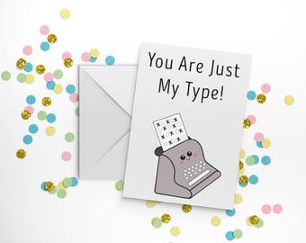 Corny Anniversary card, Kawaii anniversary, typewriter gift, typewriter print, secretary card, boyfriend card, girlfriend birthday card.