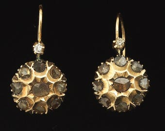 Victorian 14k Gold and Rose-cut Diamond Earrings