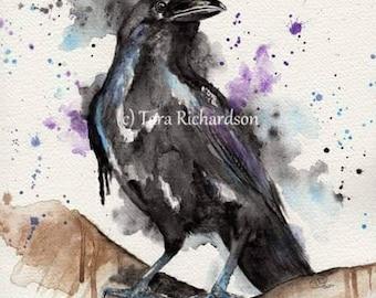 Jet, crow, rook Art Print Watercolour