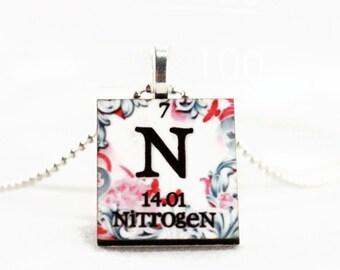 Custom Chemistry Element Necklace - Personalized Science Jewelry, Nitrogen, Pendant, Charm Necklace