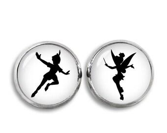 Peter Pan and Tinkerbell Stud Earrings Peter Pan Earrings Tinkerbell Earrings Peter Pan Jewelry Neverland
