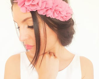 Dark pink flower hair accessory, half pink wreath, rustic wedding headband, bridesmaid headband