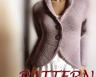 Women's blazer jacket knitting pattern knit buttoned cardigan sweater easy knit instant Download PDF pattern available Only in ENGLISH