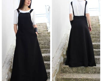 Linen pinafore, Black pinafore, Plus size pinafore, Modern maxi skirt, Bridal party skirt, Skirt with pockets, Wedding maxi skirt  /S0006