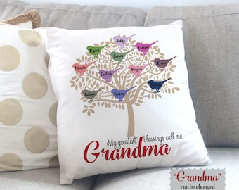 Personalized Grandma Gift, Grandmother Gift Idea, Grandchildren Gift, Mother's Day Gift for Grandma, Throw Pillow, Personalized Gift for Mom