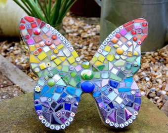 Personalised Butterfly Rainbow Garden ornament, Mothers Day, memorial plaque, yard art, wall plaque, mosaic butterfly, outdoor decorations