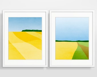 Abstract Landscape Wall Art Set, Fine Art Print, Modern Abstract Art, Contemporary Art, Landscape Print, Living Room Decor, Yellow Art