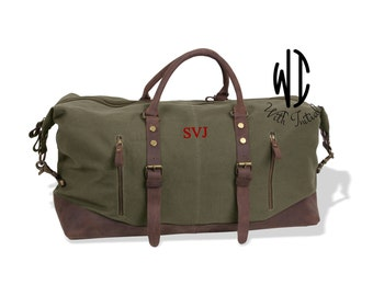 Personalized Groomsmen Gift, Military Style Weekend Travel Duffel Bag, Canvas Weekender, gifts for him, groomsman gifts, gift for groom