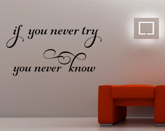 if you never try you never know  Wall Art Sticker home decor quote