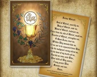 Anima Christi / Holy Communion Holy Card or Wood Magnet  #0002