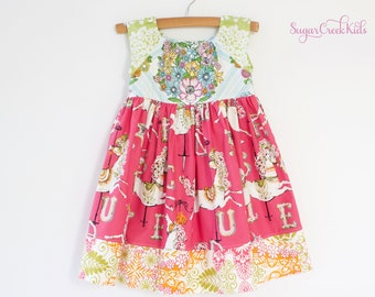 CAROUSEL HORSE Dress, Vintage Floral Dress, Girls Party Dress, Spring Summer Dress, Sizes  12MO, 2T, 3/4T, 5/6, 7/8